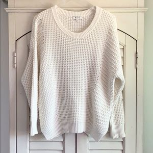 Madewell Ivory Waffle Knit Side Slit Wool Sweater